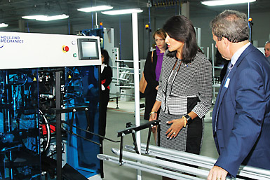 01c413c10da South Carolina Governor Nikki Haley tours the Kent International bicycle  manufacturing facility in Manning, S.C.